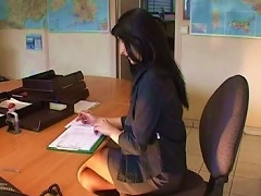 French Amateur Gril  Herself At Office